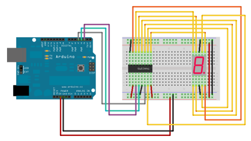 74HC595 7-segment display arduino